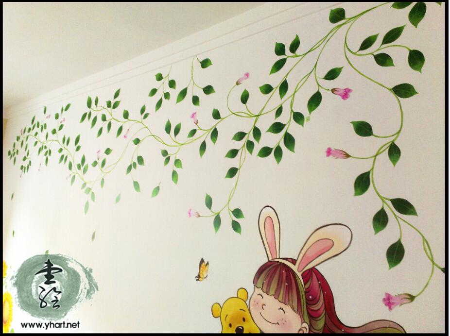 电视背景墙,花卉藤蔓墙绘