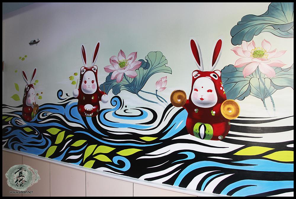 济南省府机关幼儿园走廊墙绘(泉城兔子王彩绘)-济南