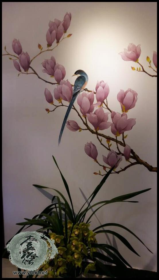 家装墙绘  产品介绍  家装玄关彩绘,国画工笔花鸟技法