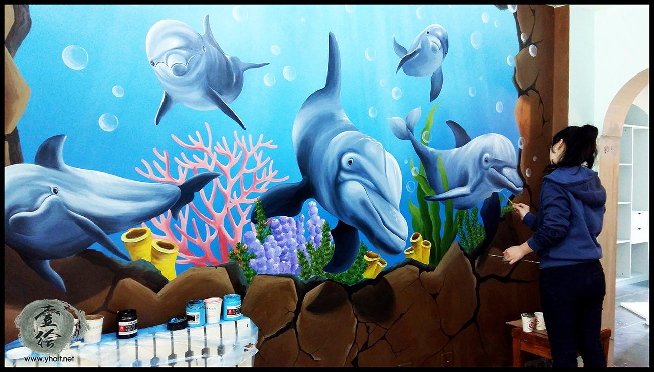 济南墙绘,家装墙绘,海洋墙绘图片