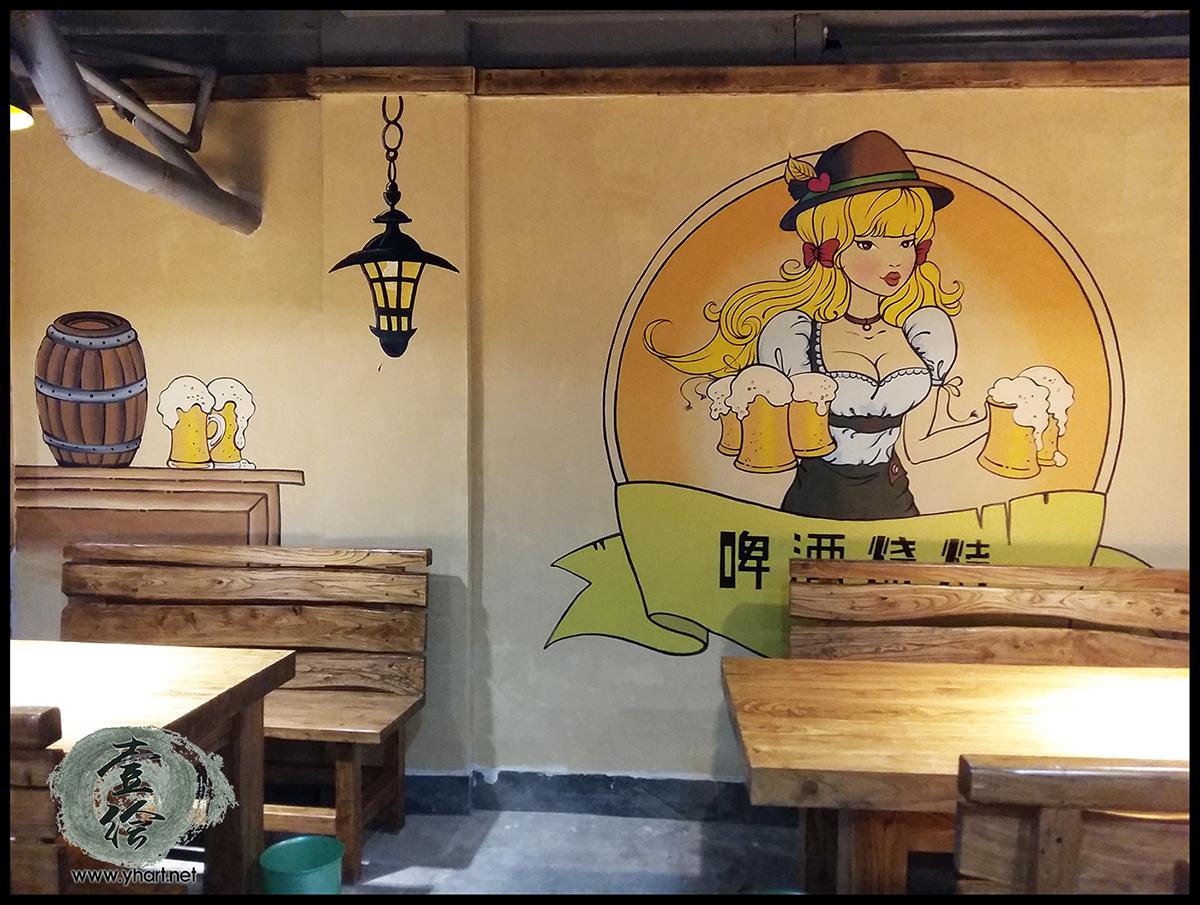 济南墙体彩绘,餐厅墙绘
